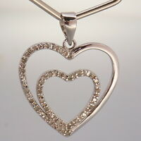 Marsala Diamond Accented Heart Sterling Silver Mothers Day Pendant 2.4g
