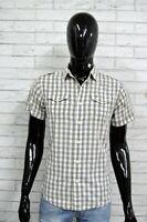 TOMMY HILFIGER Camicia Uomo Taglia XS Camicetta a Quadri Maglia Shirt Man Grey