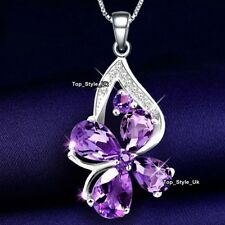 Mum Presents for Her - Amethyst Necklace Pendant Chain 925 Silver Jewellery J615