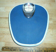 Vintage 1950's KRUPS Bathroom Scale Blue & Chrome with Bubble Glass Germany