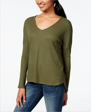 New $30 ONE CLOTHING Junior Womens Size S Thermal Hi-Low Tunic Long-Sleeve Olive