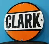 VINTAGE CLARK GASOLINE PORCELAIN GAS & MOTOR OIL SERVICE STATION PUMP PLATE SIGN