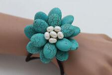 Women Bracelet Baby Blue Beads Flower Charm Elastic Cuff Band Fashion Jewelry