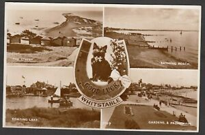 Postcard Whitstable nr Herne Bay Kent multiview Lucky Black Cat posted 1962 RP
