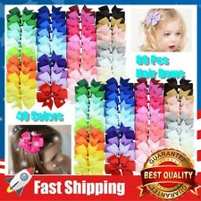 80 Pcs 3 in Boutique Grosgrain Ribbon Baby Girls Hair Bows w/ Clips for Teens