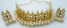 MULTI MEENA KUNDAN GOLD TONE CHOKER NECKLACE SET BOLLYWOOD BRIDAL NIZAMI JEWELRY