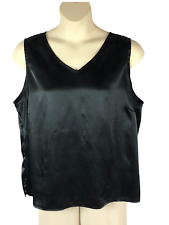 Womens Fashion Bug Black Blouse Plus Size 22/24W Sleeveless V-Neck Polyester