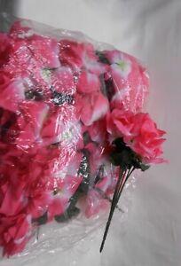 Silk Artificial Open Roses Wedding Flowers Bouquets 84 Hot Pink Centerpieces