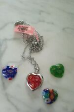 Murano Millefiori Glass Heart Pendent in SS with Stainless Steel Chain