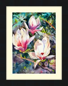 Original Watercolour Painting - Magnolia 29cm x 21cm