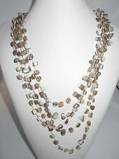 5 Necklace Layered Strands Metallic Stones Rocks Statement Shiny Beach Earthy