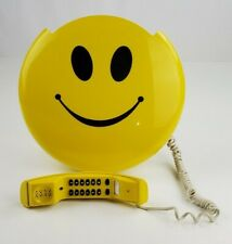 "Vintage 90s Yellow Smiley Face Phone 12"" Wall hanging or Stand Up Tested Works"