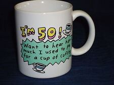 """4"""" 50th Birthday """"I'm 50! Want to Hear."""" ceramic coffee Mug"""