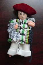 "Miniature Vintage Cloth Mexico Boy Doll 2 1/2"" Tall"
