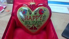 Hand Painted 2013 Li Bien Glass Ornament Heart Shape Happy Holidays /Gnome W/Box
