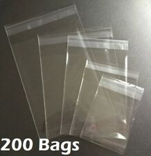 200 Clear Resealable Recloseable Self Adhesive Seal Cello Lip Tape Plastic Bags