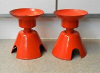 2 Large Atomic Vintage Orange Enamel Metal Candle Holder Set Mid Century Modern