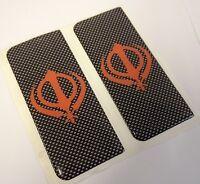 2x Orange & Silver Sikh Khanda Kanda Symbol Gel 3D Number Plate Side Badges