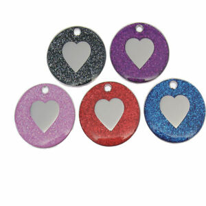 Personalised Engraved 25mm Disc Heart Pet ID Tag Identity Gift Round Vincenza