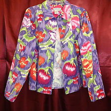 COLDWATER CREEK LS Button Pockets Collar Cotton Floral Jacket Green Red Purple L