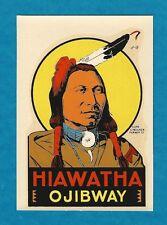 "VINTAGE ORIGINAL 1955 SOUVENIR ""CHIEF HIAWATHA OJIBWAY"" TRAVEL DECAL ART NICE"