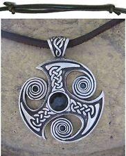TRISKELE Amuleto Hombre XL NUEVO Collar Negro de piel Cadena cuero leather