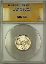 1945-D/D RPM-2 DDO DIE 5 Wartime Silver Jefferson Nickel 5c Coin ANACS MS-65 (C)