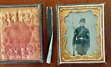 Civil War Photography Tintype Large 1/4-Plate Fully-Armed Tinted Beautiful Image