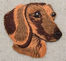 Iron On Embroidered Applique Patch Puppy Dog Dachshund Head - Doxie