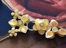 vintage pilgrim necklace enamelled yellow flowers Silver Plated