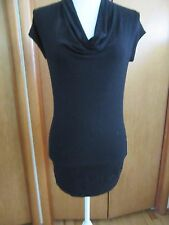 women's long black top with wide band at waist size S