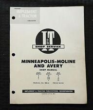 1953 Minneapolis Moline Abf Gta Gtb V R U Za Zt Tractor I Amp T Repair Shop Manual