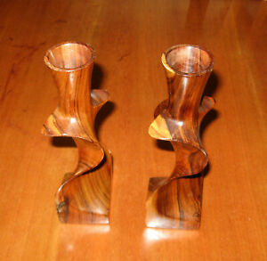 Sexy Romantic Home Table Decor Dark Wood Vintage Style Taper Candle Holders