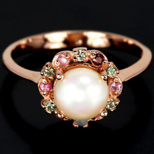 NATURAL AAA WHITE PEARL & MULTI COLOR SAPPHIRE STERLING 925 SILVER RING 7.75