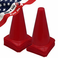 "9"" INCH RED CONES (SET OF 12) SPORTS AGILITY TRAFFIC FIELD ROAD SOCCER ~ USA"