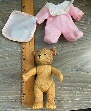 "Russ Mini Girl Bear w/ Pink Pajamas&  Pink & White Blanket- 5"" - Rare-Mint+++++"