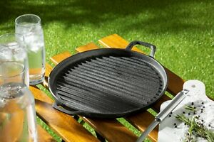 Homiu Round Grey Cast Iron Griddle Plate Frying Enamel Pan Grill BBQ Skillet NEW