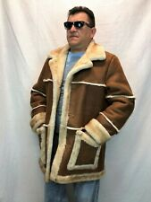 COGNAC 100% SHEEPSKIN SHEARLING LEATHER MARLBORO Trench Coat Jacket XS-8XL, NWT