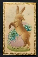 Cute~Bunny Rabbit with Egg~Flowers~Airbrushed Easter Postcard-German~m729
