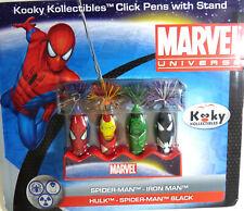 Kooky Kollectibles Marvel Universe Heroes 4 Pens Spider Man Hulk Iron Black New