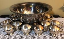 E.P.C.A. Silverplate Punchbowl With 12 Punchcups