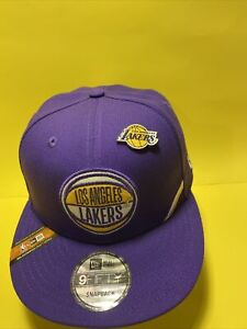 Los Angeles LA Lakers Snapback New Era Hat 9FIFTY Purple Gold With Pin Men's Cap