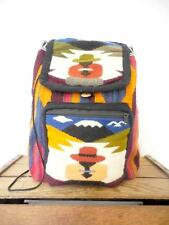 VINTAGE Ethnic Print Kilim Landscape Backpack Kitsch Holdall Book Bag DRAWSTRING