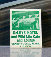 Rare Vintage Matchbook W9 Circa 1940 Grand Coulee Washington DeLuxe Hotel Lounge