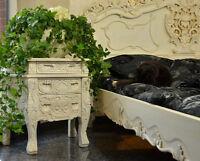 Nacht Tisch Kommode Schrank Weiss Antik Landhaus Rococo Massivholz Schnitzereien