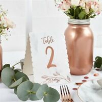 Rose Gold Party & Wedding Table Table Numbers 1-12  pack of 12