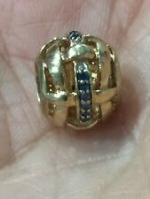 european charm bead Solid 10kt Yellow Gold Blue Diamonds Micheal Hill