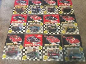 LOT OF 42 STOCK CAR NASCAR RACING CHAMPIONS 1:64 CARS WITH DISPLAY STANDS, NEW