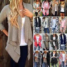 Damen Wasserfall Strickjacke Cardigan Asymmetrisch Winter Pullover Mantel Jacken