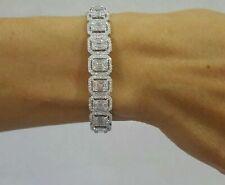19.68Ct Emerald Cut Diamond Halo Party Wear Tennis Bracelet In 14K White Gold